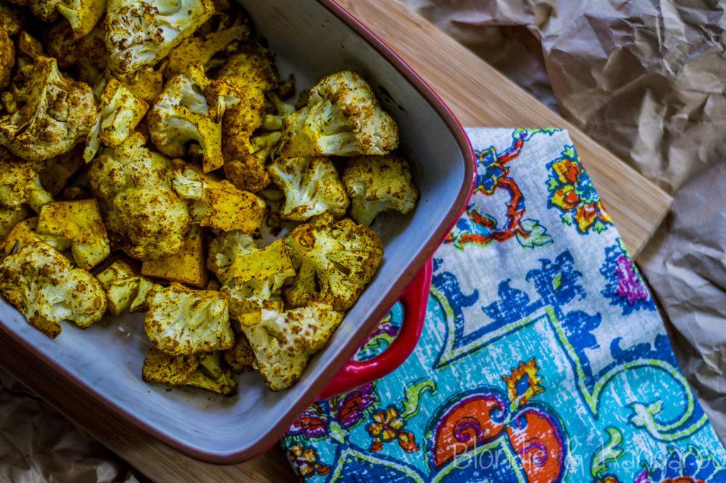 Pieczony kalafior zprzyprawami/Roasted cauliflower with spices